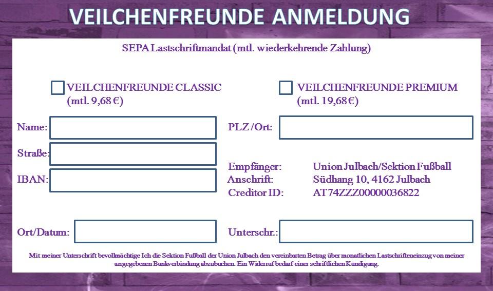 Anmeldung SEPA
